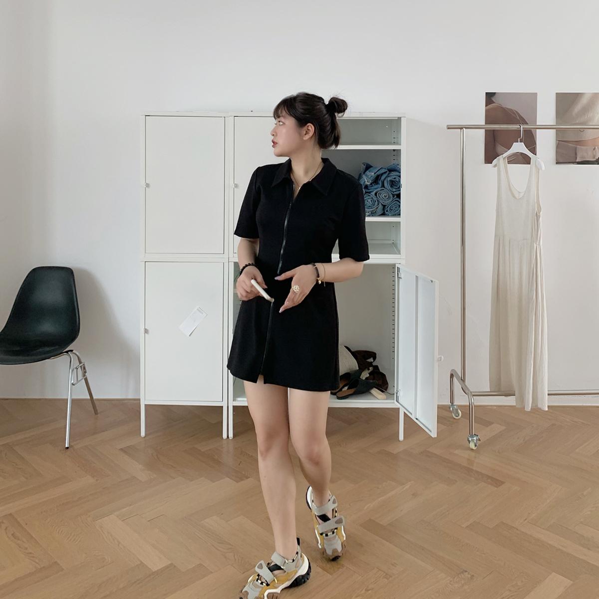 大面菁黑色衬衣风polo连衣裙子2020年新款夏天显瘦微胖mm大码女装