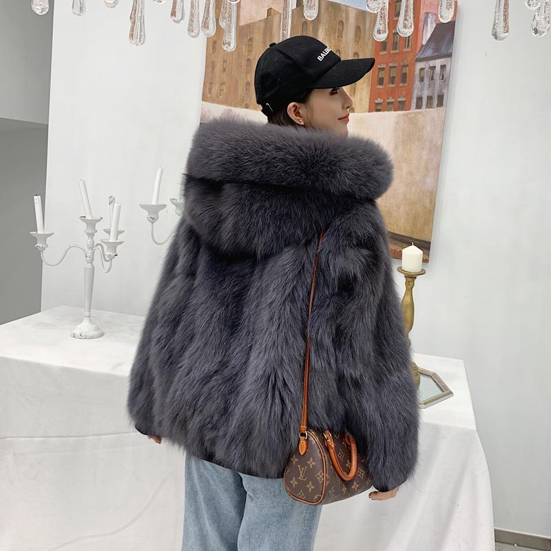 狐狸毛皮草外套女皮草女2020秋冬新款连帽皮毛一体短款两面穿大衣