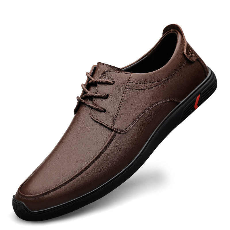 British leather shoes mens shoes fashion dress soft soled mens head leather low top business casual single shoes work shoes