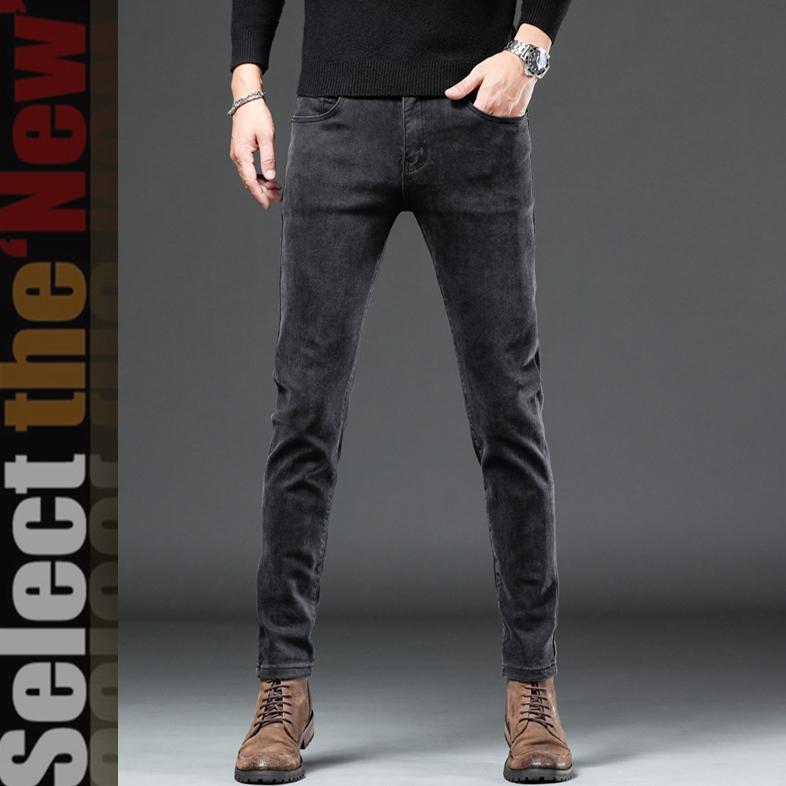2021 new Korean mens slim casual straight jeans Leggings trend summer thin mens pants mens wear