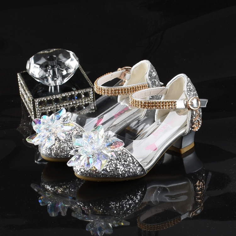 Girls Princess crystal shoes spring single shoes childrens high heels childrens dress leather shoes fashion versatile performance childrens shoes