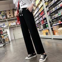加肥加大码女装150斤胖mm裤子纯棉薄款运动裤女宽松直筒韩版阔腿