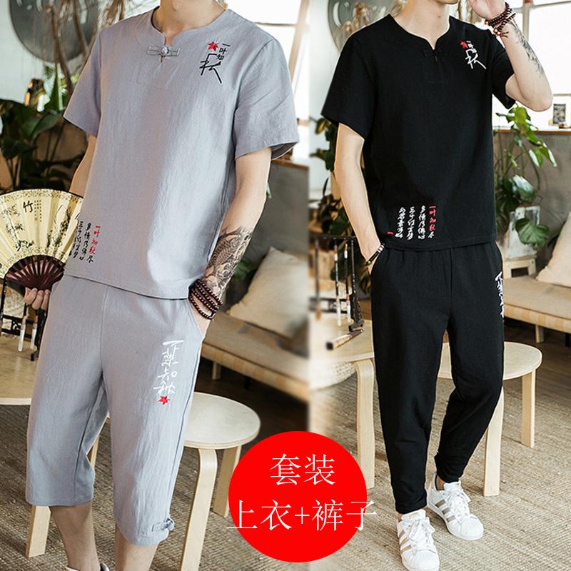 中国风棉麻短袖T恤加肥加大码两件套七分裤男士休闲运动套装夏季