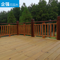 Enterprise strong custom Anticorrosive wood fence handrail outdoor staircase guardrail grid fence courtyard carbonized railing wood structure