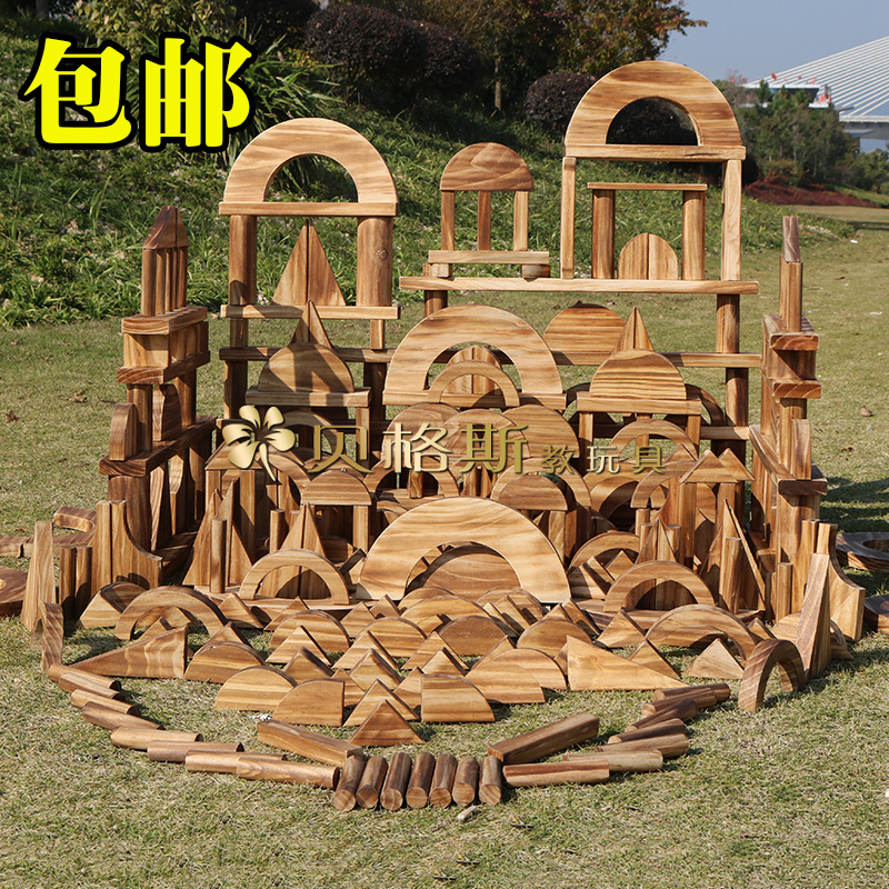 Building and assembling of outdoor large-scale charcoal burning building block corner Toy Puzzle game in Solid Wood Carbonization building block kindergarten
