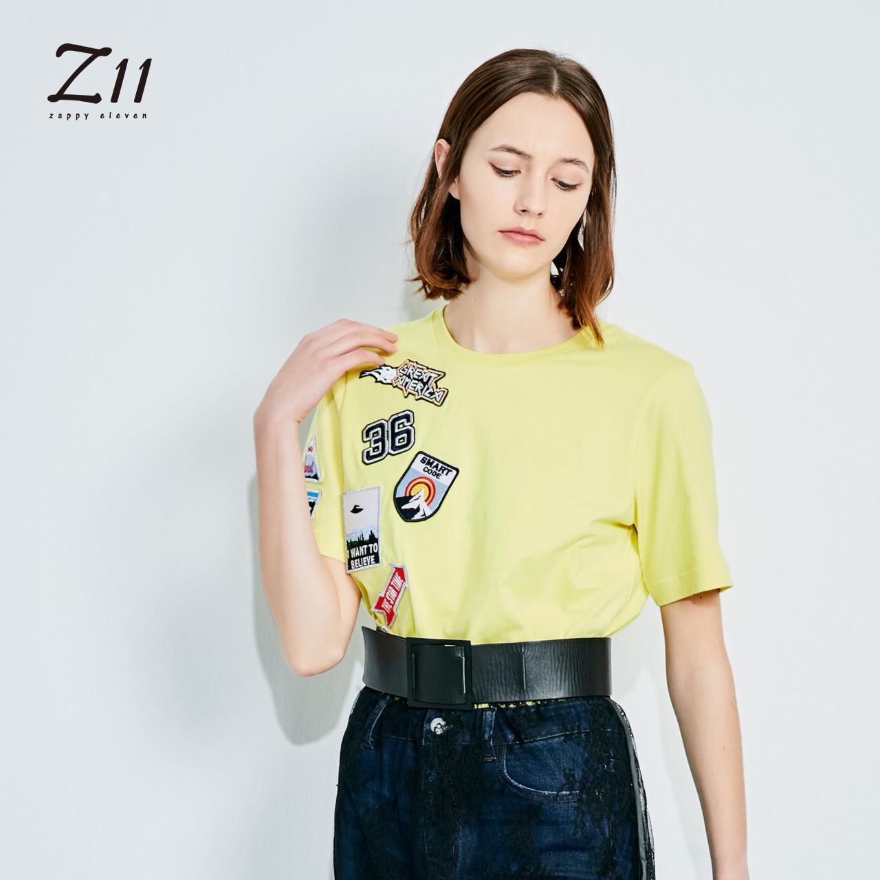 z11女装秋款纯棉圆领纯色个性补丁贴补绣短袖T恤Z17CT141