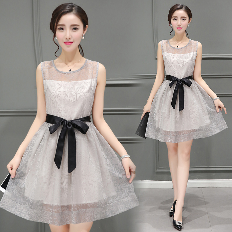 Sun descendant summer new Korean version slim and small fragrance three dimensional pattern A-line Organza Dress Fashion Girl