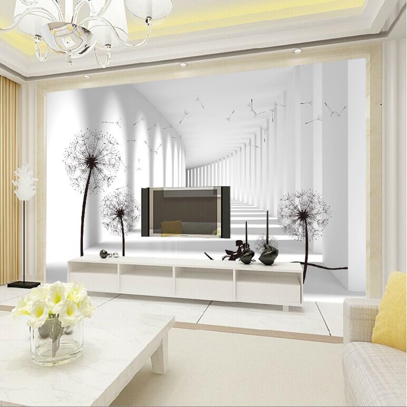 现代简约客厅沙发电视背景墙壁纸8d影视墙壁画5d无缝墙布3d蒲公英