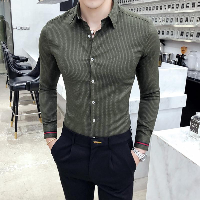 19秋款条纹衬衣男士修身长袖衬衫涤纶97%氨纶3%223-2-6611-P65