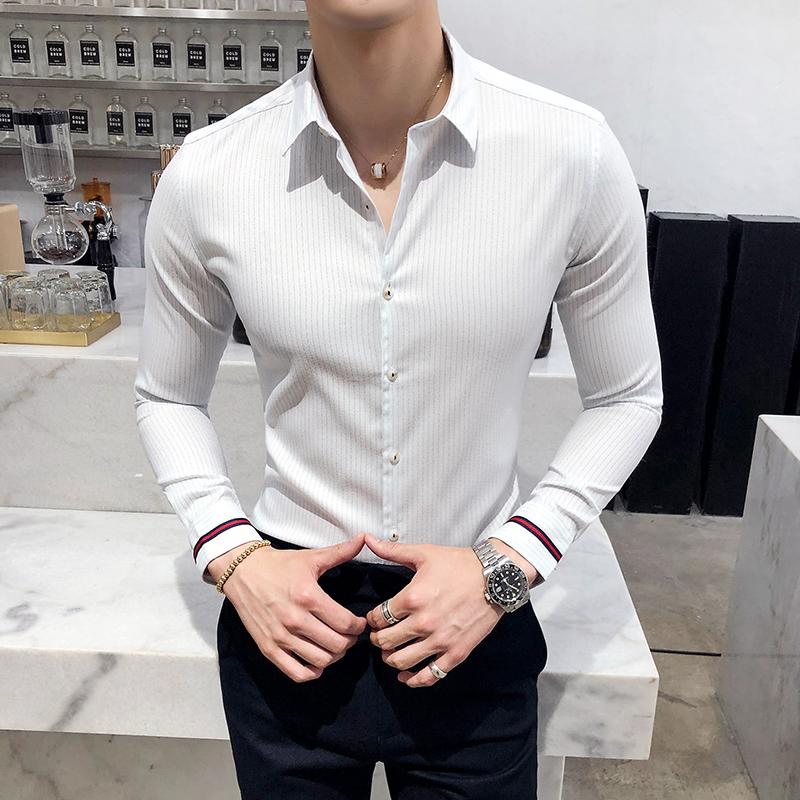 2019秋款条纹衬衣男士修身长袖衬衫涤纶97%氨纶3%223-2-6611-P65