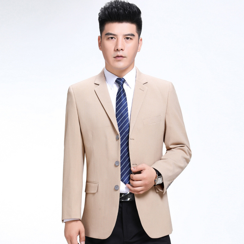 Autumn and winter 2020 new mens suit fashion leisure middle aged wool single suit trendy mens striped three grain button coat