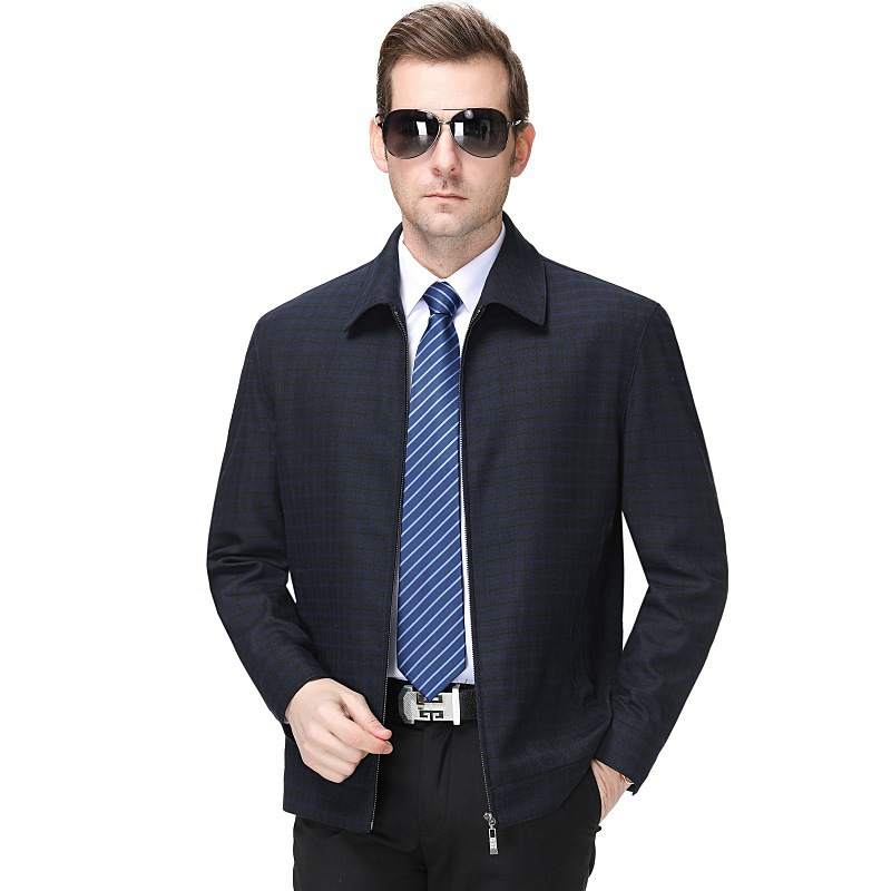 2020 spring and autumn new mens casual jacket middle aged and elderly Lapel Wool Plaid Jacket