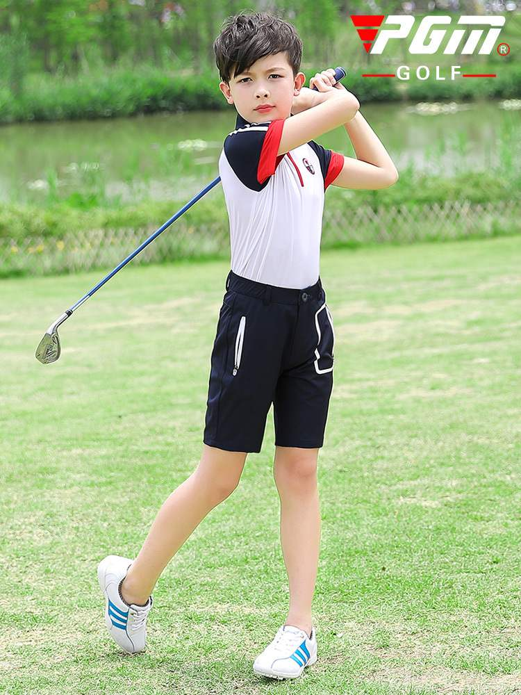 Clothing teenagers children golf clothes boys short sleeve T-shirt shorts spring and summer sports suit short sleeve T-shirt PGM