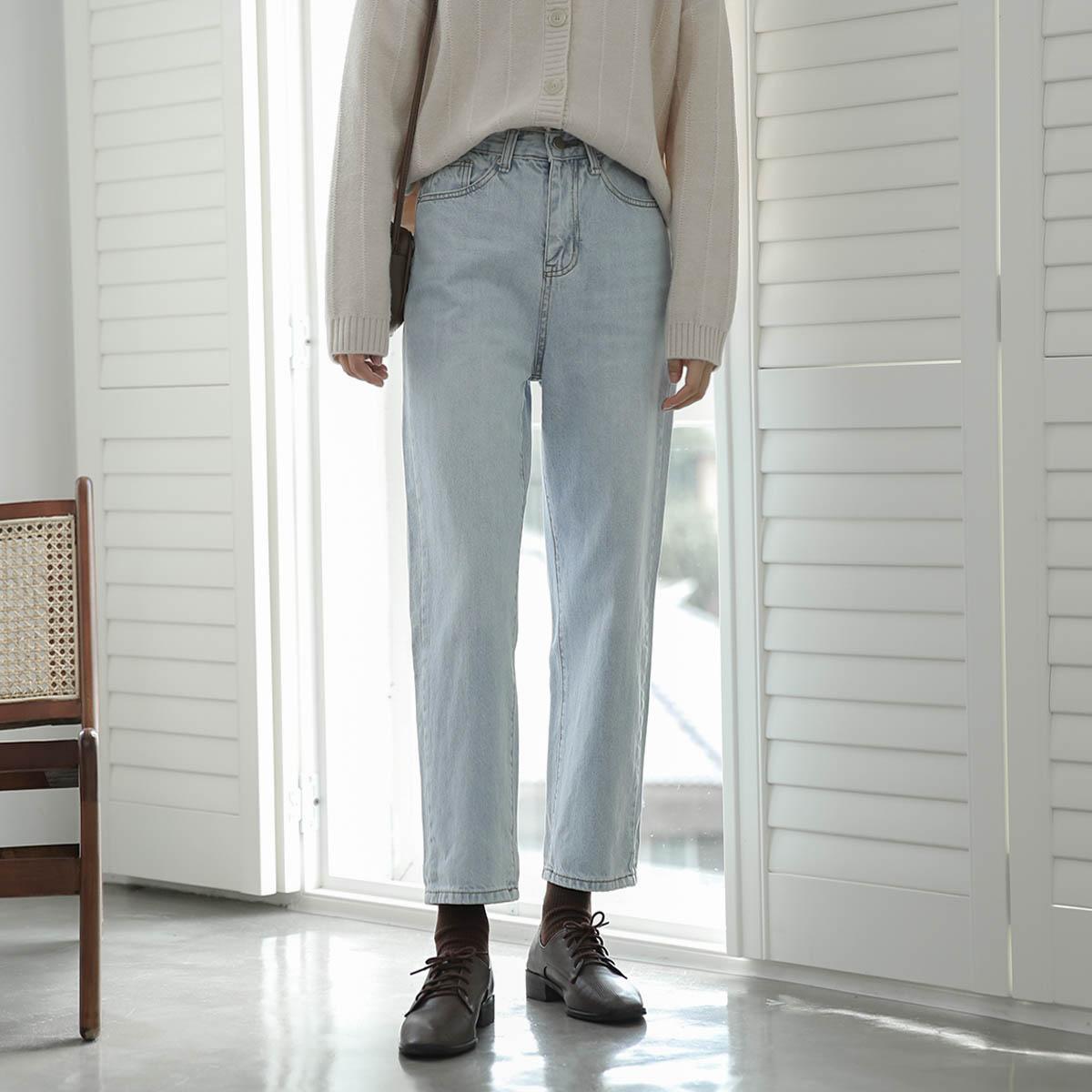 远海和风/宽松水洗白高腰牛仔裤女直筒宽松 显瘦小个子浅色裤子秋12-01新券