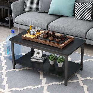 创意沙发边桌边几角几黑色床头桌双层置物架长条桌简易小茶几桌子
