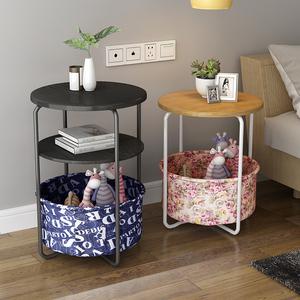 简约沙发边桌边几角几多功能小茶几卧室床头桌置物架家用小圆桌子