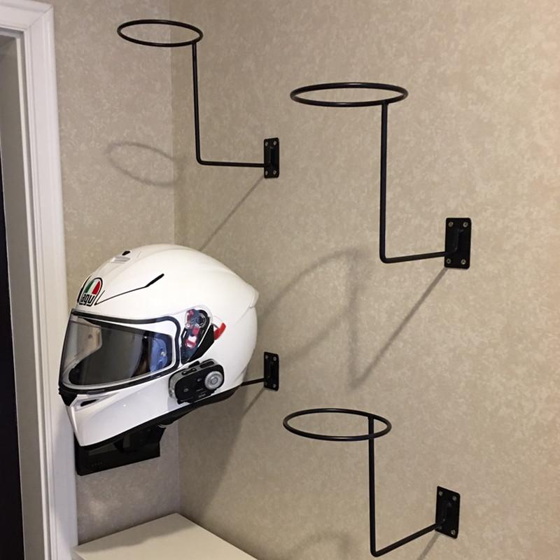 摩托车头盔帽架子铁艺上墙帽托货架