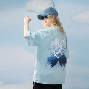 PCMY国潮夏季情侣装自然景观刷漆T恤男女同款情侣街头宽松短袖ins