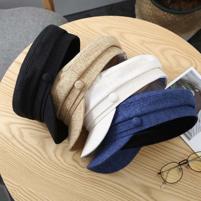 贝雷帽复古鸭舌平顶海军帽子女韩版潮夏季英伦薄款网红八角帽百搭图片