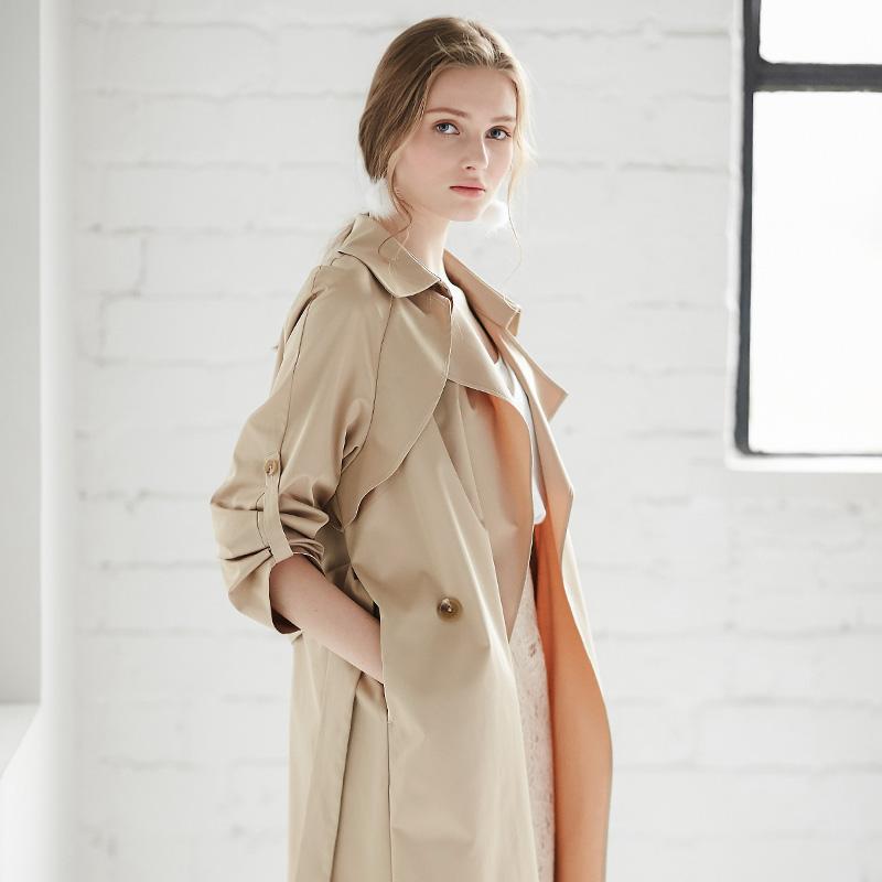 2018秋装新款女英伦风系带宽松过膝风衣中长款韩版薄款防风外套棉