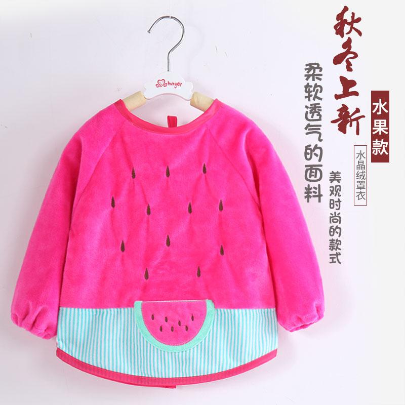 小孩儿童婴儿宝宝罩衣吃饭防水防脏长袖秋冬水晶绒反穿衣女孩男童
