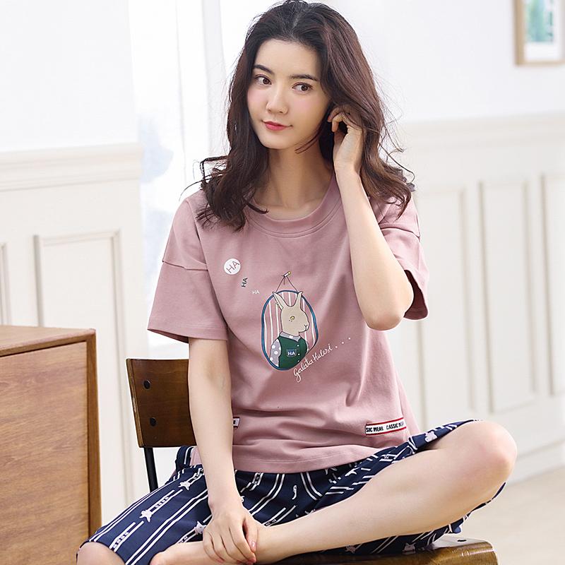 夏季韩版纯棉宽松清新睡衣两件套