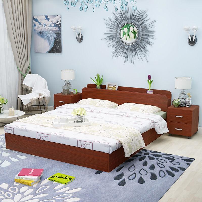 住宅家具大全现代简约板式床1.2米1.5米1.8米双人床榻榻米床高箱