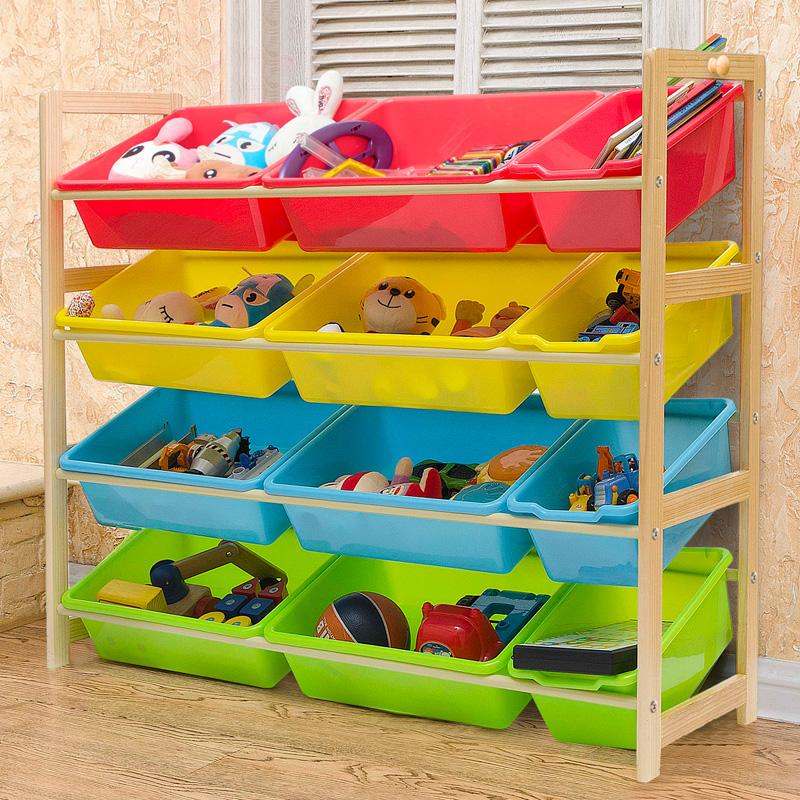 瑞美特儿童玩具收纳架整理架多层置物架收纳箱实木宝宝玩具收纳柜