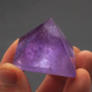 易晶缘水晶天然紫水晶金字塔摆件家居风水饰物能量疗愈矿石