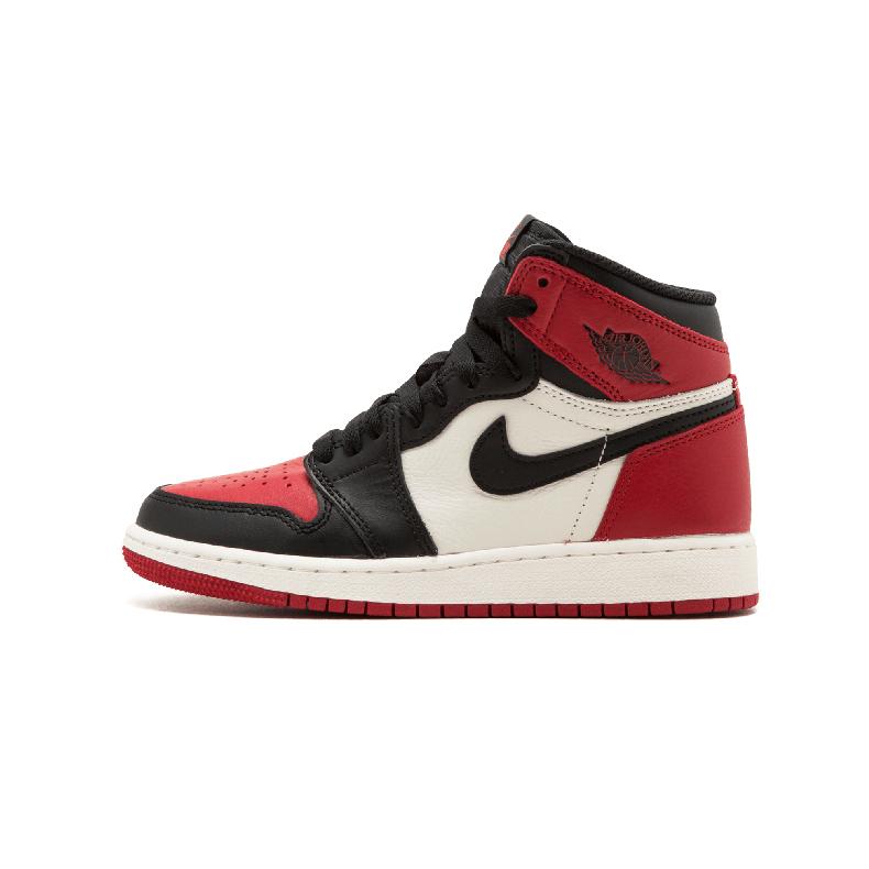 Air Jordan 1 Retro High OG Bred Toe AJ1 черный и красный носок 575441 610