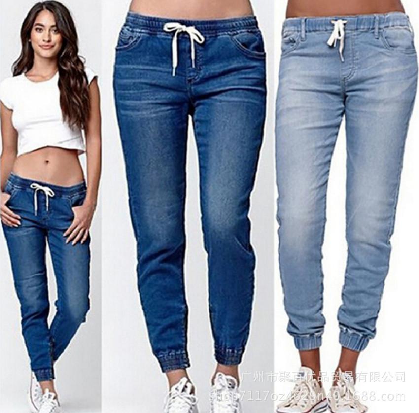women jogging pants jeans plus size 新款大码女牛仔裤慢跑裤