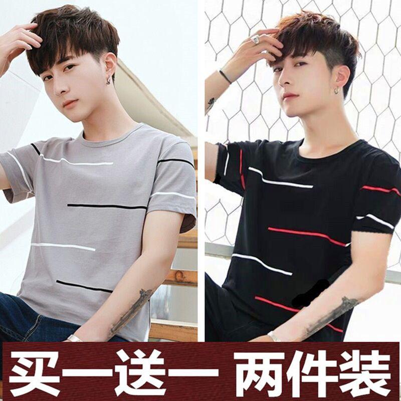 2020新款靓仔韩版潮流半袖短衫夏装体桖男装成熟短轴男士短袖t恤