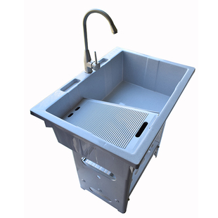 塑料洗衣池洗衣盆帶搓板陽台洗衣櫃洗衣台盆洗衣槽水池帶搓衣板的