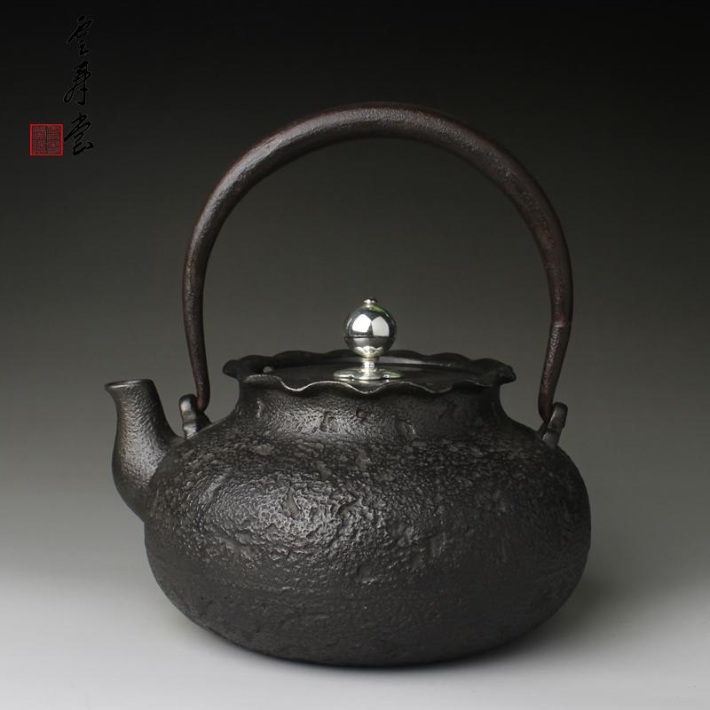 云寿堂铸铁壶日本铁壶原装进口铁瓶手工无涂层生铁煮水砂铁茶壶
