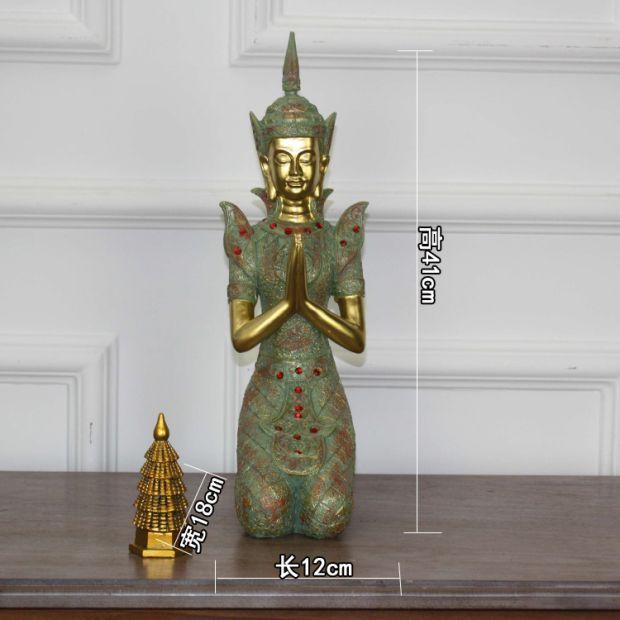 泰国招财大跪佛摆件 SPA会所泰式餐厅迎宾佛软装饰品工艺品佛像