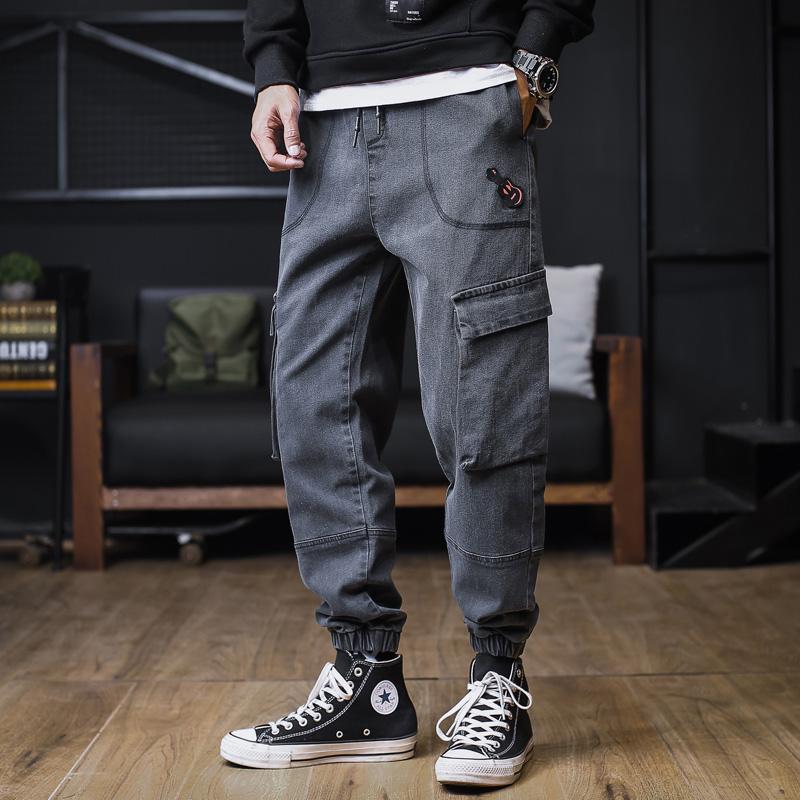 冬季牛仔裤男士宽松加大码胖子男装长裤子多口袋工装裤潮流束脚裤