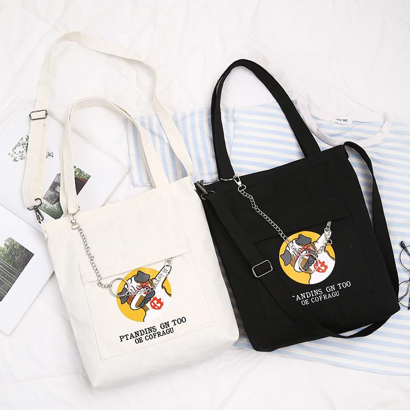 Xyc 原创女包帆布包个性潮狗斜挎包文艺单肩学生书包袋补习袋卡通
