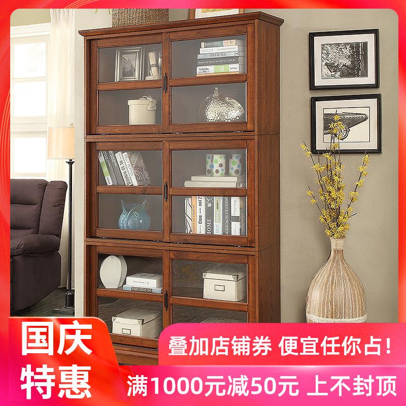 热销12件需要用券美式实木书柜书架带玻璃门推拉柜子