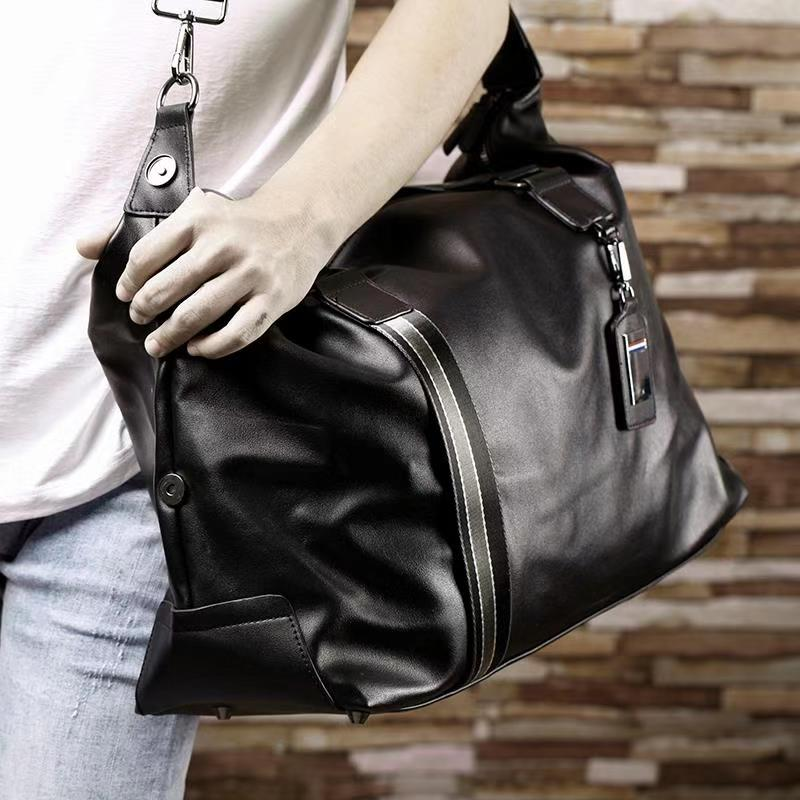 Buy fashionable leather handbag for men, large capacity business travel bag, short trip bag, business trip bag for men