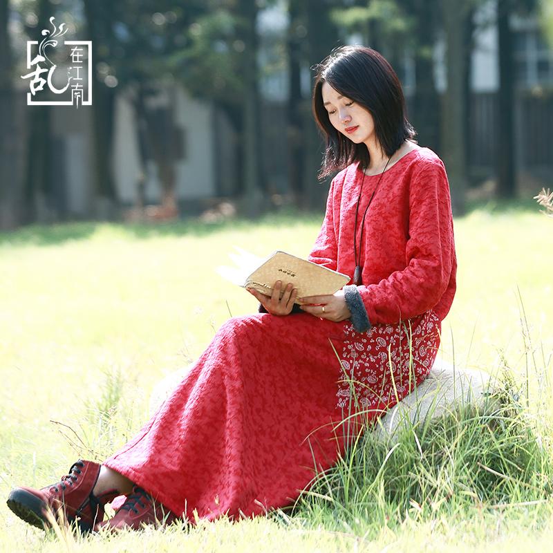 民族风连衣裙秋冬季加绒加厚复古2018新款棉麻中长款中国风女装