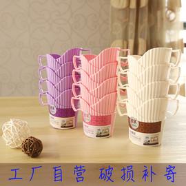 简约塑料杯托一次性杯杯架创意纸杯杯托盘家用隔热带手柄茶杯架
