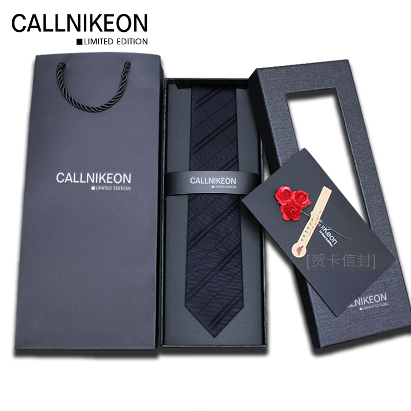 Callnikeon genuine tie men's formal business 6cm Korean fashion small CK narrow casual gift box