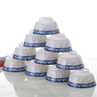 青花瓷碗10只景德镇家用骨瓷碗套装特价高档吃饭碗面碗餐具可微波