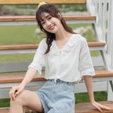 茉语家白色上衣女式小衫新款v领套头短袖洋气2020夏季韩版蕾丝衫