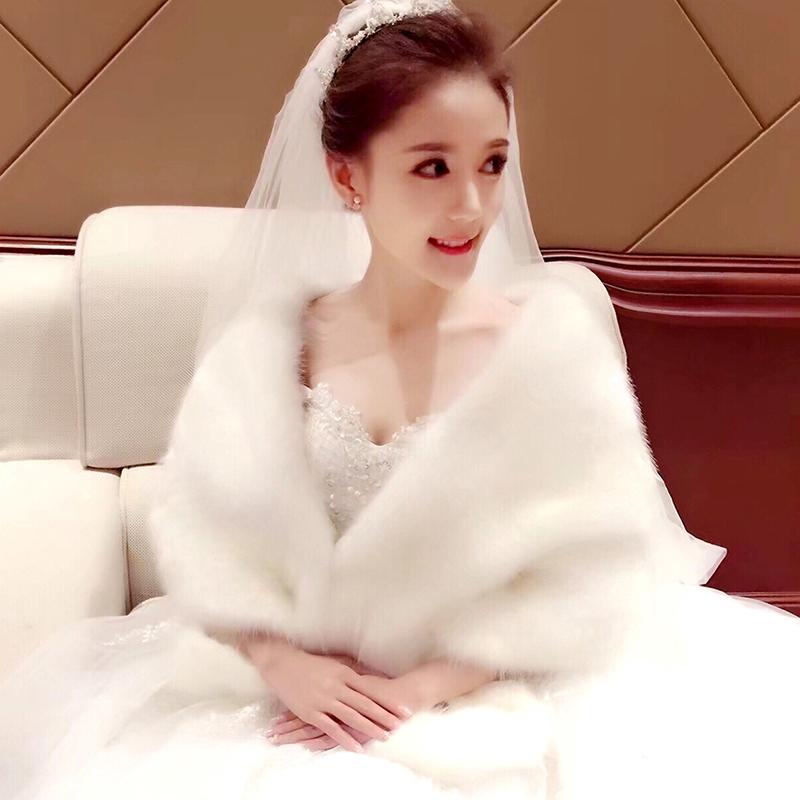 2020 new cloak autumn and winter fox hair with bride wedding small coat wedding dress shawl cheongsam warm fur