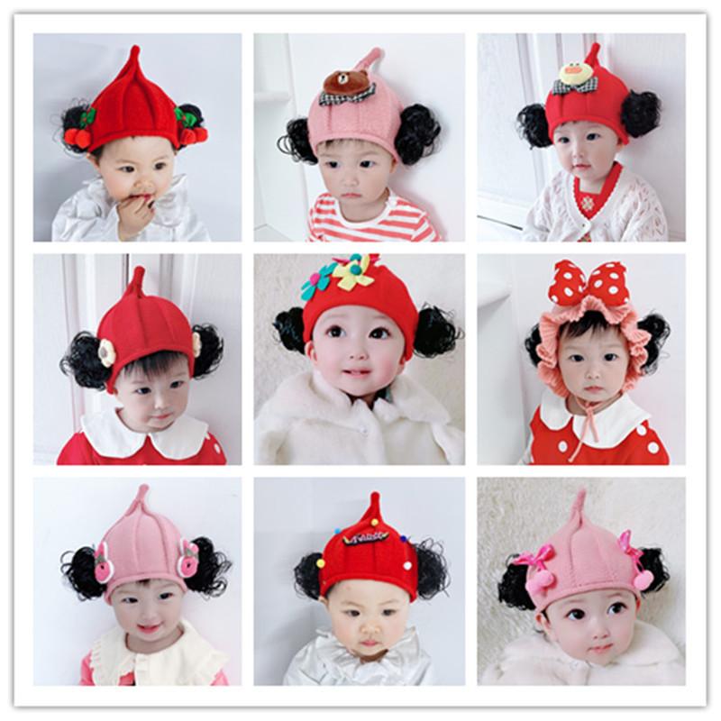 婴儿帽子春秋冬女宝宝假发帽儿童套头帽女童公主帽韩版可爱潮新款
