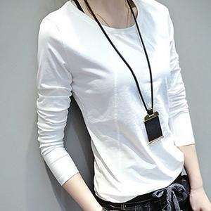 纯棉长袖t恤女春秋新款韩版百搭打底衫修身显瘦休闲白色上衣学生