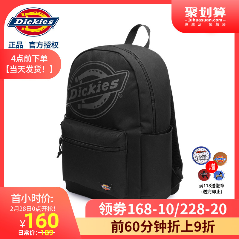 Dickies Trend Printed Logo Shoulder Bag Campus College Students Pure Color Backpack C201