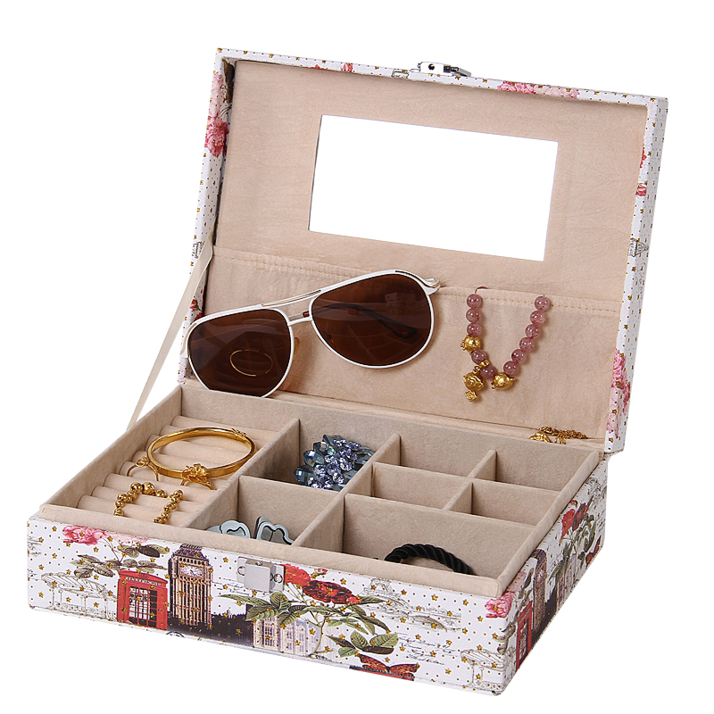 �W式首�盒化�y品戒指手�C吊��收�{盒�хR子大容量珠���品收�{箱