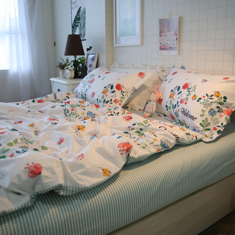 全棉小碎花小清新床品纯棉床单被套田园风床上四件套简约民宿风女